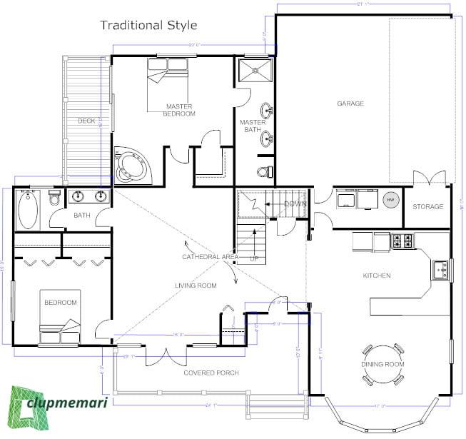 نقشه ساختمان سه خوابه